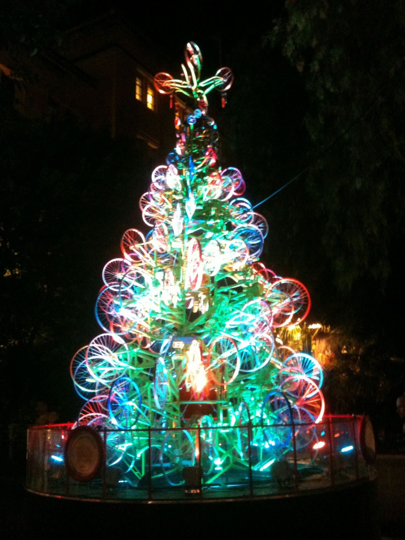 recycled bicycle wheels make awesome christmas trees - A Christmas Tree