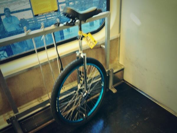 unicycle on caltrain bike car