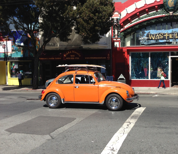 orange vw beetle san francisco