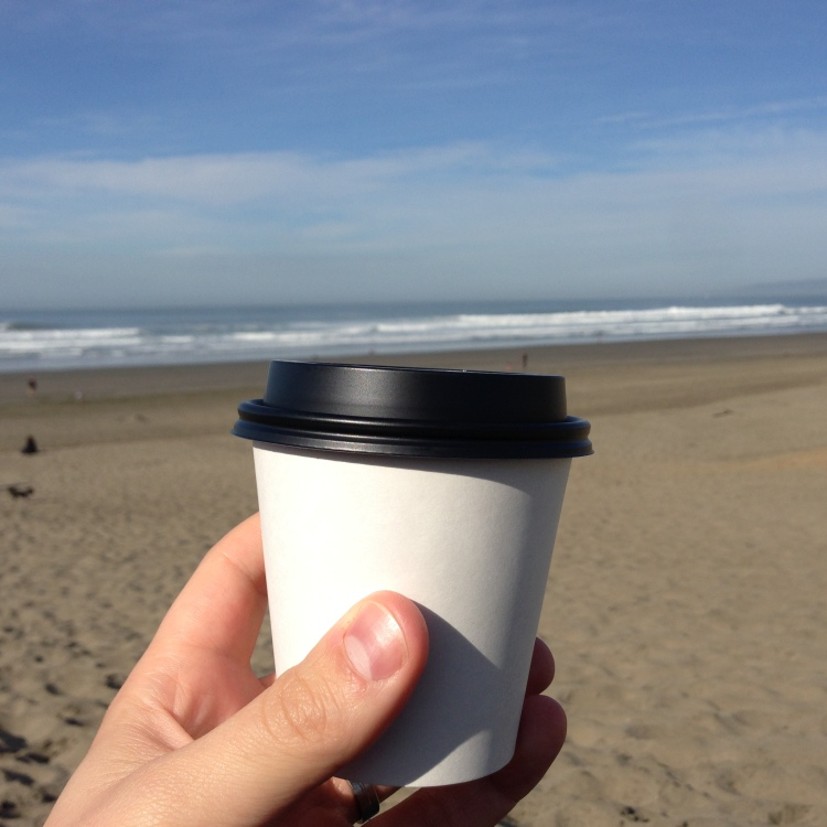 coffee cup at ocean beach san francisco